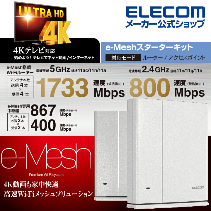 Wi-Fi 5 1733+800Mbps e-Meshスターターキット:WMC-2HC-W