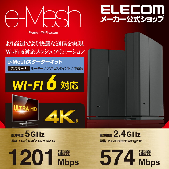 Wi-Fi 6 1201+574Mbps e-Meshスターターキット