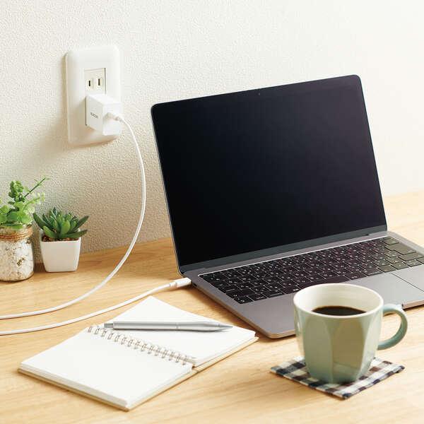 GaN USB PD対応 USB AC充電器(USB PD30W) ケーブル(2m)付属