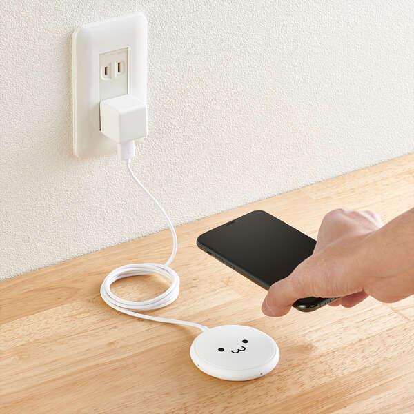 ケーブル一体型 Qi規格対応ワイヤレス充電器(5W・卓上・1m)