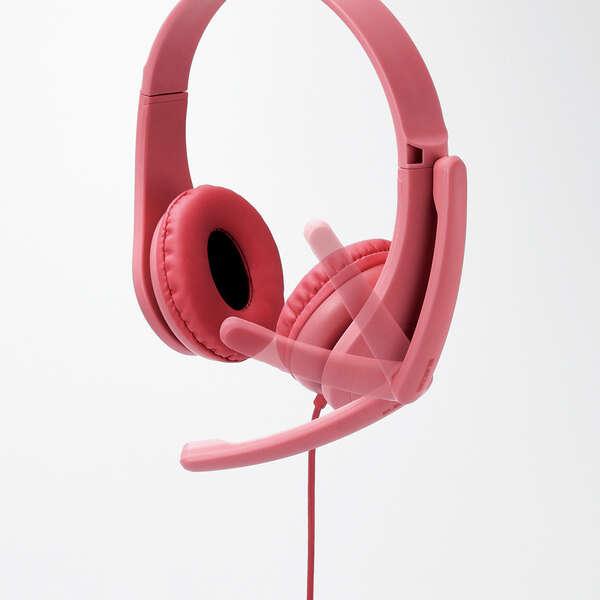 子ども用ヘッドセット 有線 4極ミニプラグ 両耳 マイクアーム付