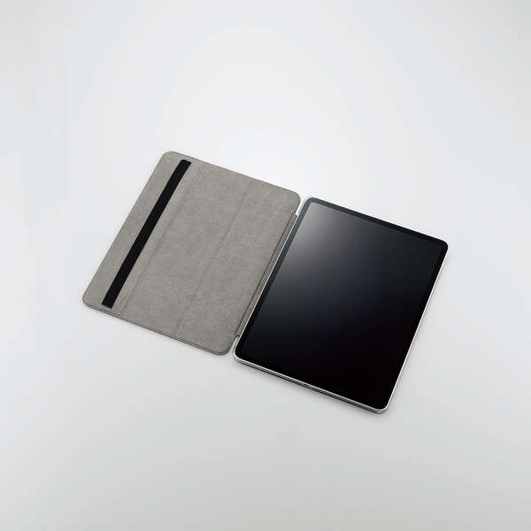 iPad Pro 12.9inch第5世代/手帳型/背面クリア/2アングル/ブラック