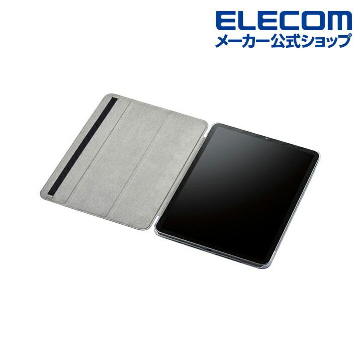 iPad Pro 11inch第3世代/手帳型/背面クリア/ソフトレザー/2アングル/ブラック