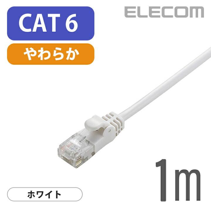 Gigabit やわらかLANケーブル(Cat6準拠):LD-GPY/WH1