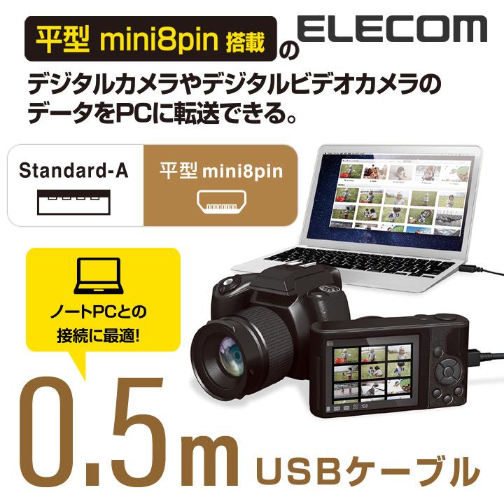 カメラ接続用USBケーブル(平型mini8pinタイプ):DGW-F8UF05BK