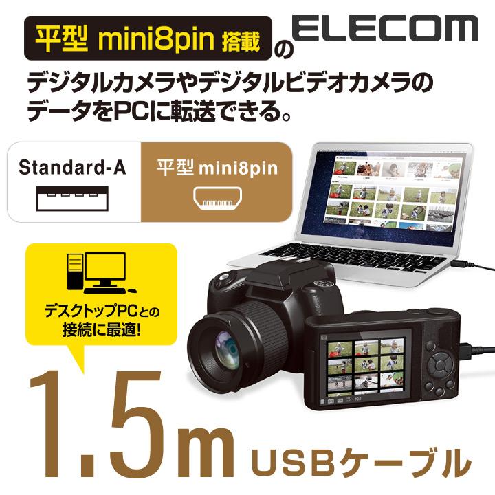 カメラ接続用USBケーブル(平型mini8pinタイプ):DGW-F8UF15BK